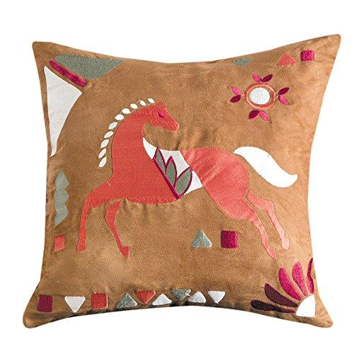 HiEnd Accents EmbroideRed Horse Pillow, 18x18