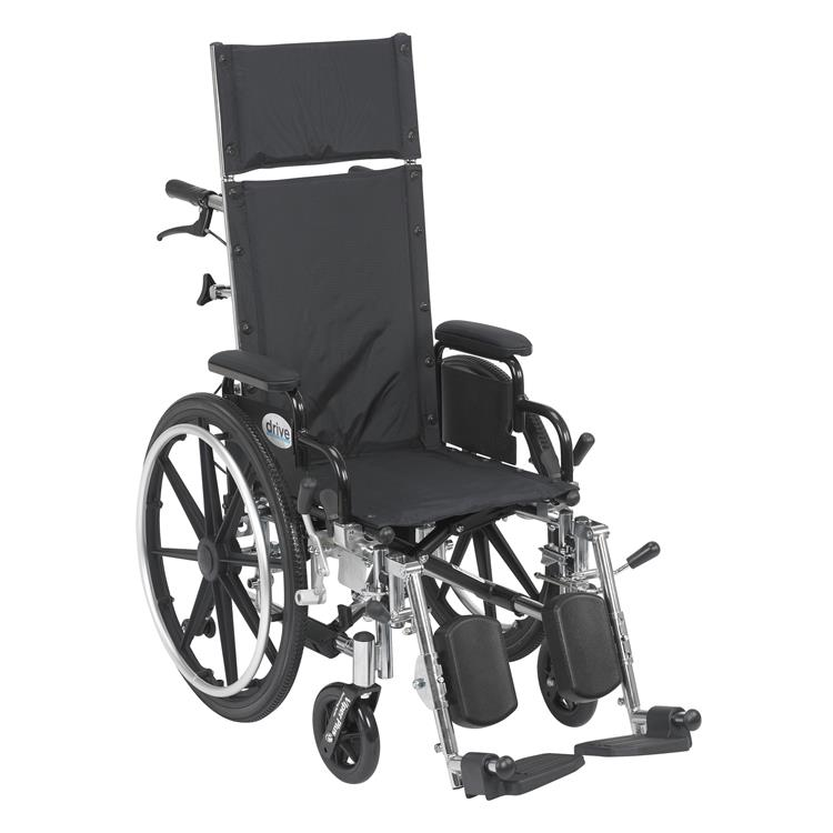 Drive Medical Viper Plus Light Weight Reclining Wheelchair with Elevating Leg Rests and Flip Back Detachable Arms