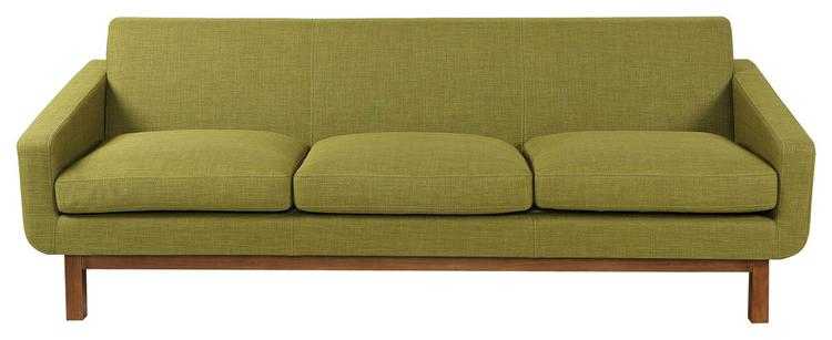Kardiel Platform Midcentury Modern Classic Sofa, Seat: Atomic Moss, Base:  Walnut