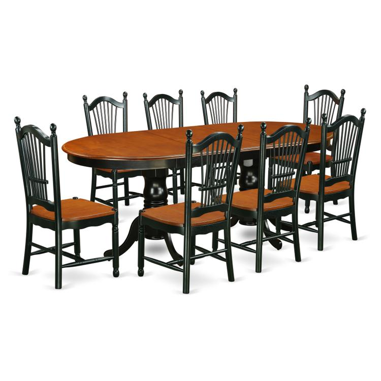 East West Furniture PLDO9-BCH-W 9 Piece Kitchen table set with one Parfait dining table and 8 dining room chairs in a Black & Cherry Finish