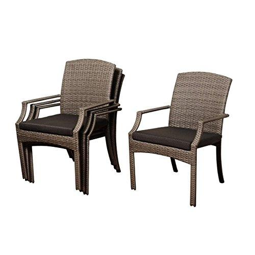 Rolland 4 Piece Grey Synthetic Wicker Armchair Set with Grey Cushions