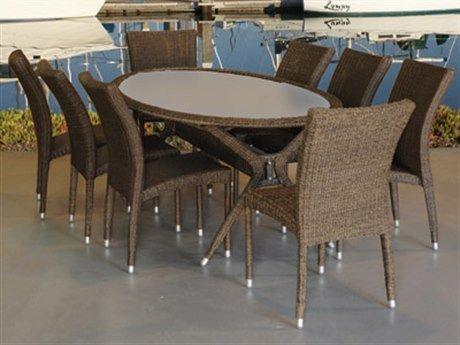 Bari 9 Piece Wicker Oval Patio Dining Set