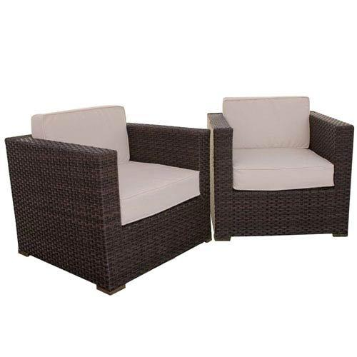 Bellagio 2 Piece Wicker Patio Armchair Set with Off-White Cushions