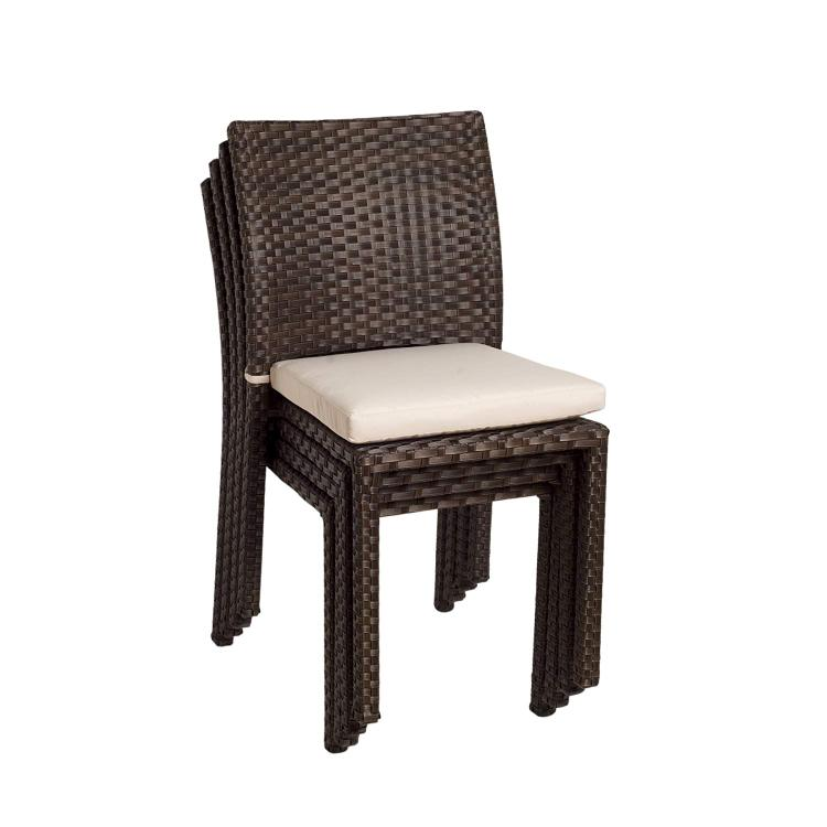 International Home Miami Liberty 4 Piece Wicker Patio Chair Set with Off-White Cushions