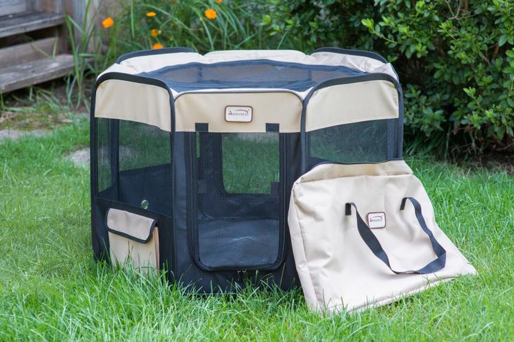 Armarkat Portable Pet Playpen in Black and Beige Combo