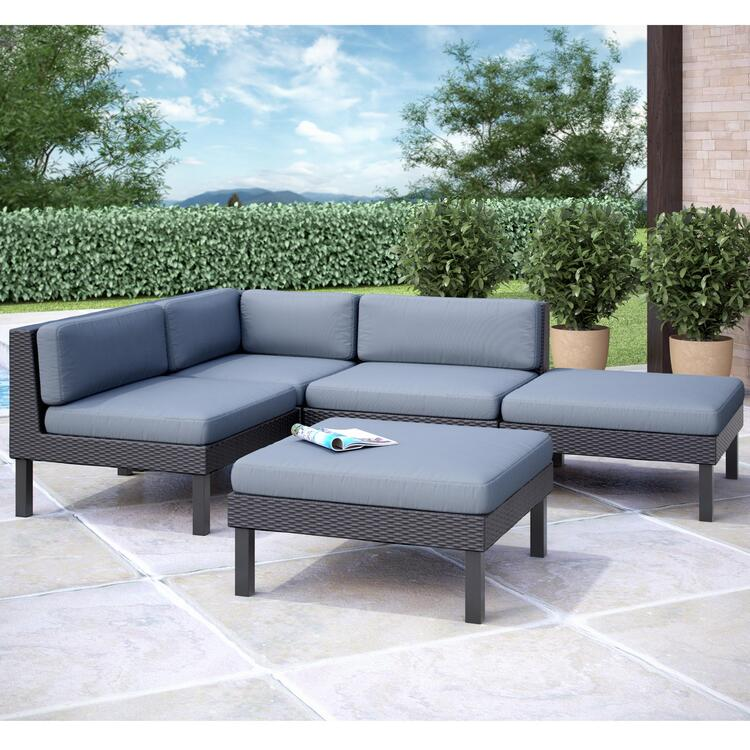 CorLiving Oakland 5 pc Sectional with Chaise Lounge Patio Set