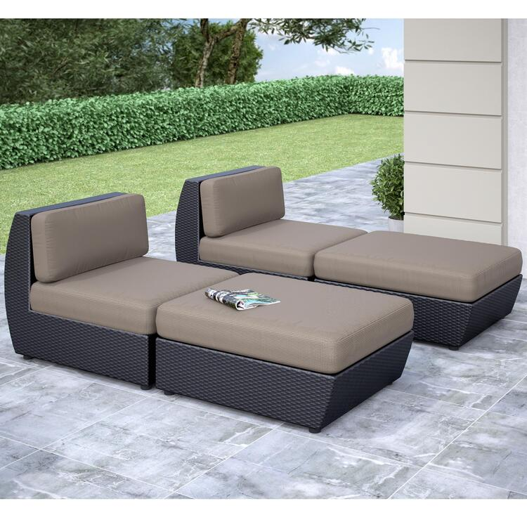 CorLiving Seattle Curved 4 pc Lounger Patio Set