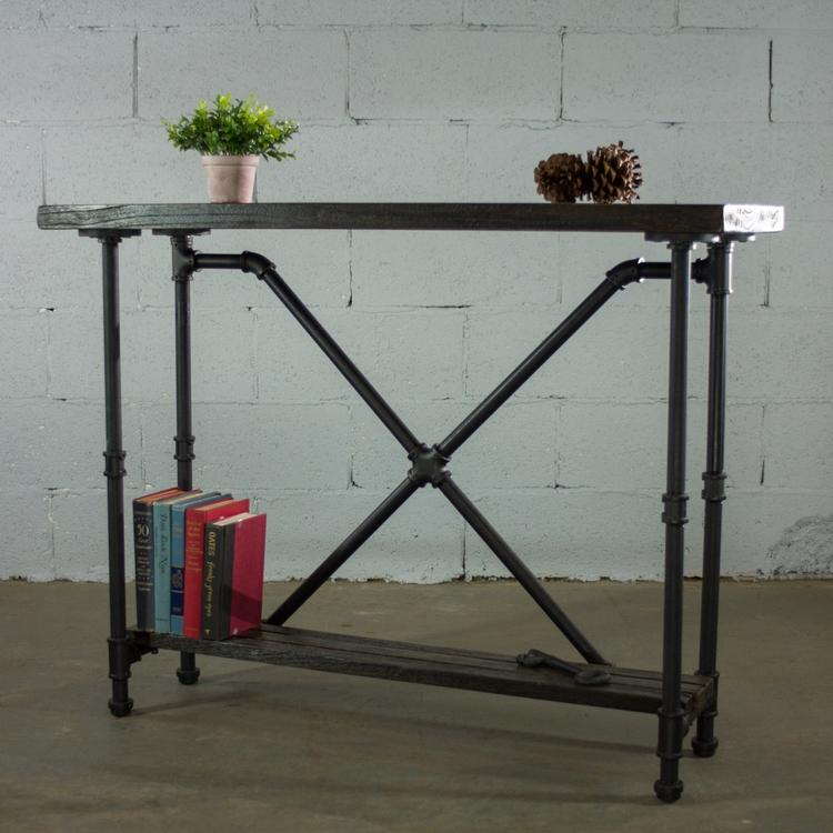 American Furniture Classics OS Home And Office Model PSTX BS Industrial  Vintage 2 Tier Pipe Console Sofa Hall Table   Etagere Metal And  Reclaimed Aged Wood ...