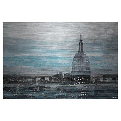 Blue City Hues by Parvez Taj Painting Print on Brushed Aluminum