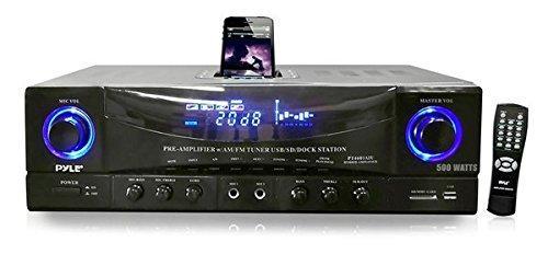 500 Watt Stereo Receiver AM-FM Tuner/USB/SD/Ipod Docking Station & Subwoofer Control
