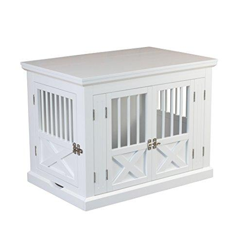 Triple Door Dog Crate, White, Medium