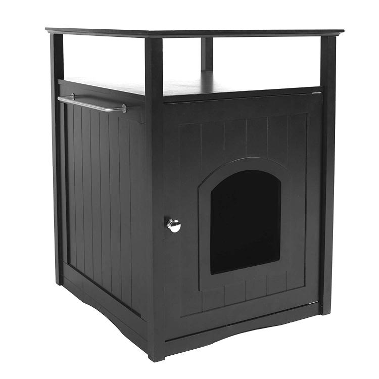 Zoovilla Cat Washroom Litter Box Cover / Night Stand Pet House, Black