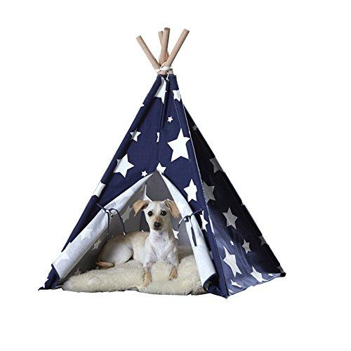 Pet Teepee, Blue with White Stars, Large