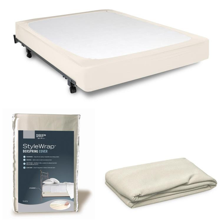 Fashion Bed Group StyleWrap Ivory Fabric Box Spring Cover