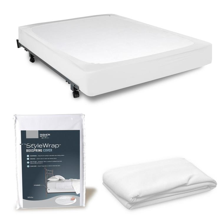 Fashion Bed Group StyleWrap White Fabric Box Spring Cover