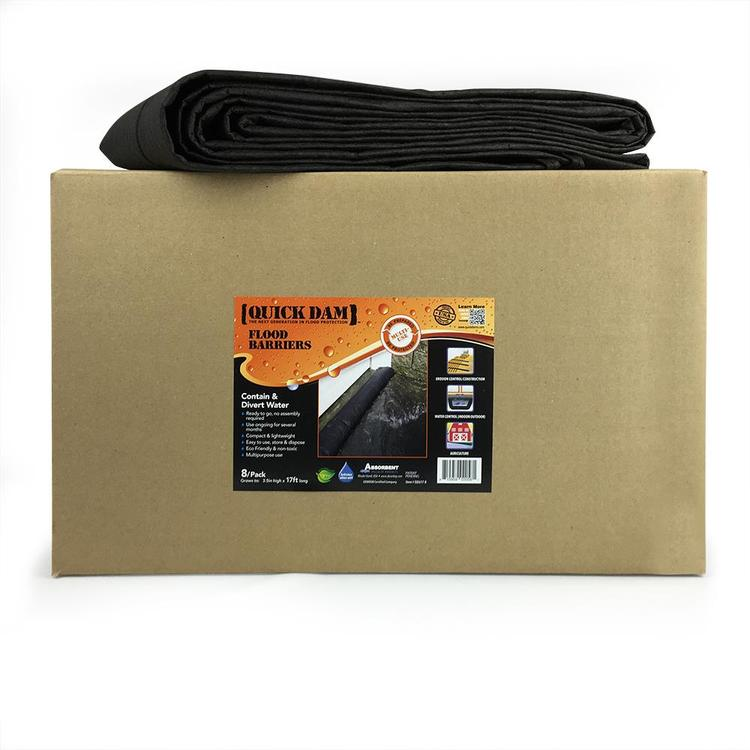 Quick Dam Water Activated Flood Barrier 17 feet, 8-Pack