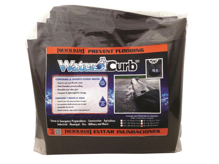 Quick Dam Water Filled, Water Curb diverts flood water, 10in high x 20ft long, 1-Pack