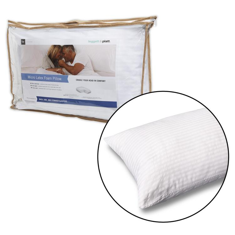 Fashion Bed Group Micro-Cubed Latex Foam Pillow with Portable Zippered Carrying Case
