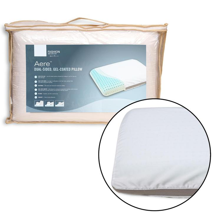 Fashion Bed Group Aere Dual-Sided Gel-Coated Memory Foam Pillow and Portable Zipper Carrying Case