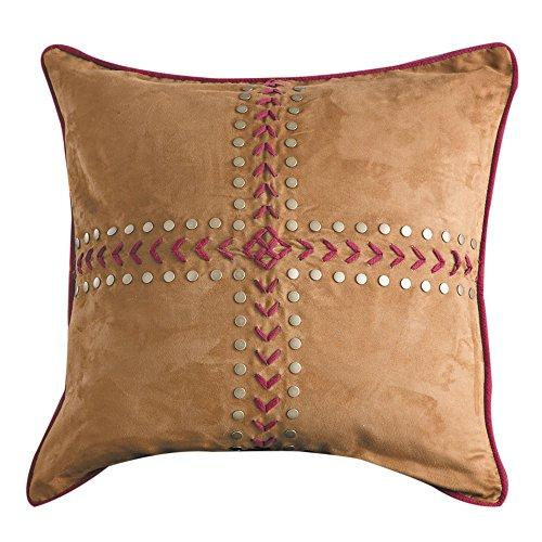 HiEnd Accents Revisible Solace Euro Sham with embroiery & concho details, 27x27