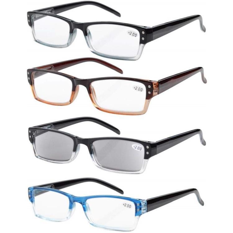 Eyekepper 4-pack Spring Hinges Reading Glasses Includes Sun Readers +4.00