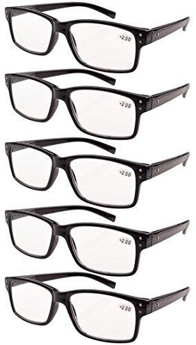 Eyekepper 5-pack Spring Hinges Vintage Reading Glasses Men Readers Black +2.25
