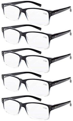 Eyekepper 5-pack Spring Hinges Vintage Reading Glasses Men Readers Black-clear Frame +2.50