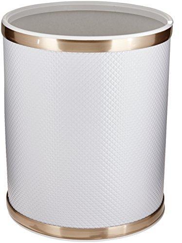 WC Redmon Bath Jewelry Diamond Pattern Round Vinyl Wastebasket