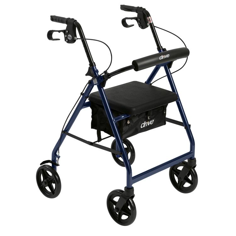 Drive Medical Aluminum Rollator Rolling Walker with Fold Up and Removable Back Support and Padded Seat [Item # R728BL]