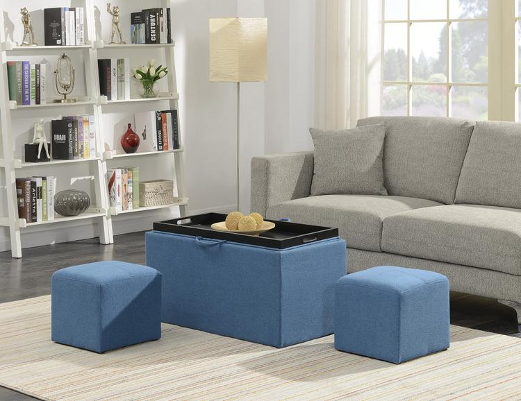Designs4Comfort Sheridan Storage Bench With 2 Side Ottomans