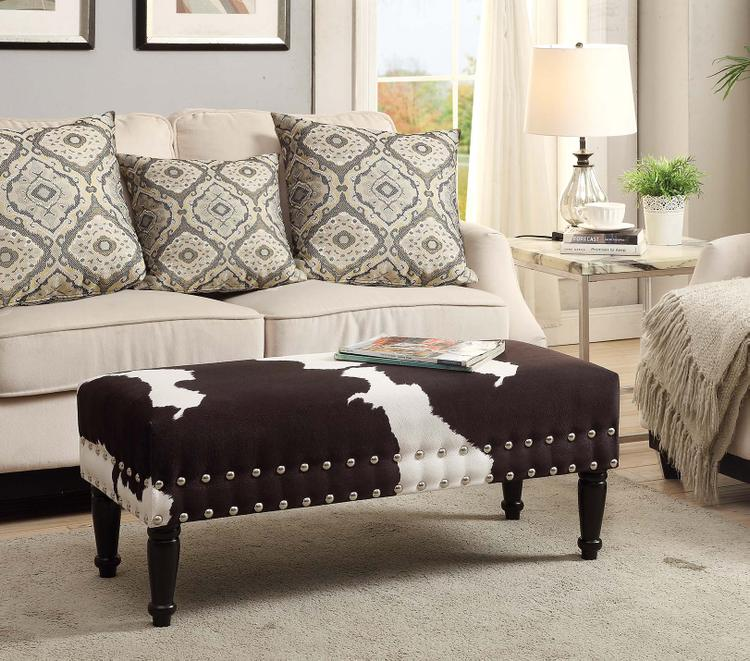Faux Cowhide Bench with Nailheads