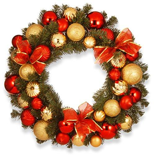 National Tree Red and Gold Ornament Wreath