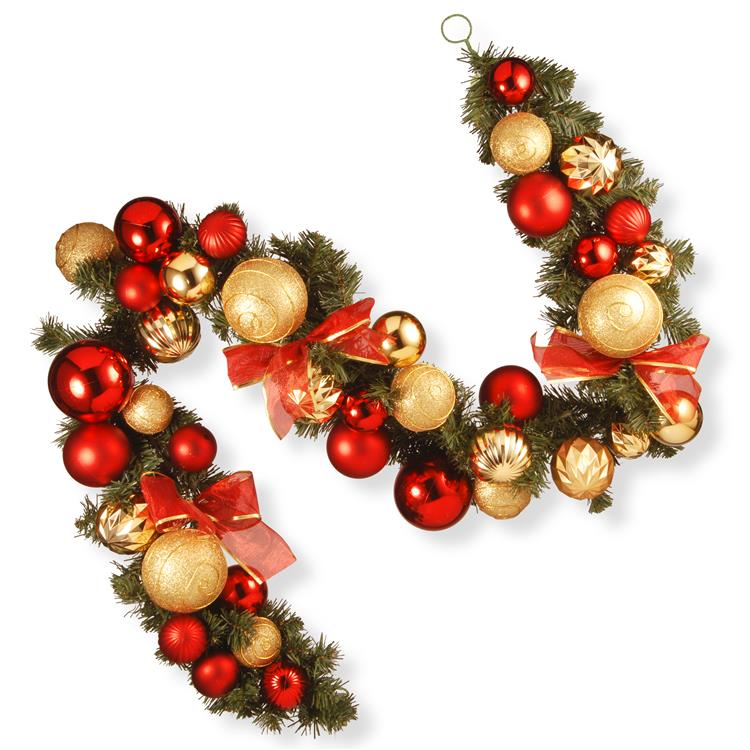 National Tree 6 ft Red and Green Ornament Garland
