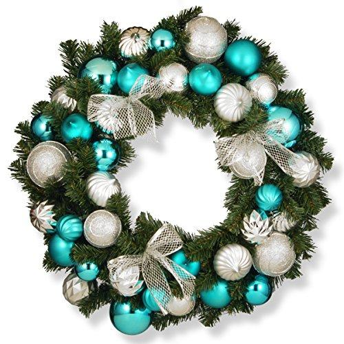 National Tree Silver and Blue Ornament Wreath