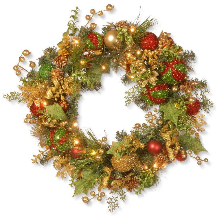 National Tree 30 inch Decorated Christmas Wreath with Battery Operated LED Lights