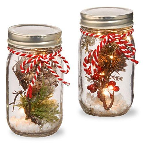 National Tree Holiday Accent Mason Jar Set with Lights