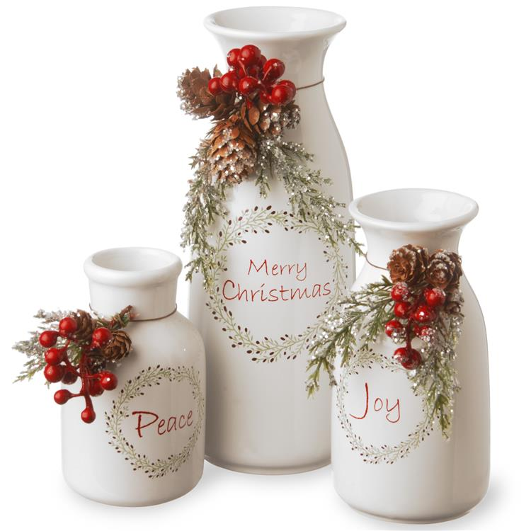 National Tree Holiday Antique Milk Bottles Set