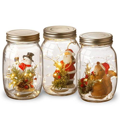 Holiday Accent Mason Jar Assortment with Lights