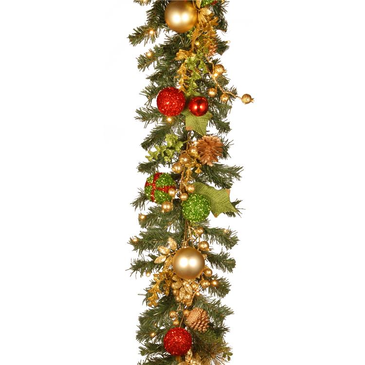 National Tree 72 inch Decorated Christmas Garland with Battery Operated LED Lights