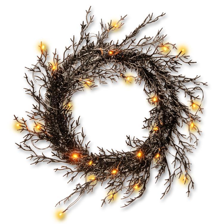 National Tree 26 inch Halloween Wreath with Lights