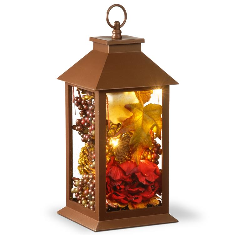 National Tree 12 inch Autumn Décor-Filled Lantern with LED Lights [Item # RAH-17C042A-1]