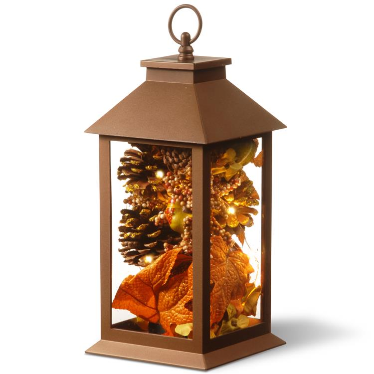National Tree 12 inch Decorative Autumn Lantern with LED Lights
