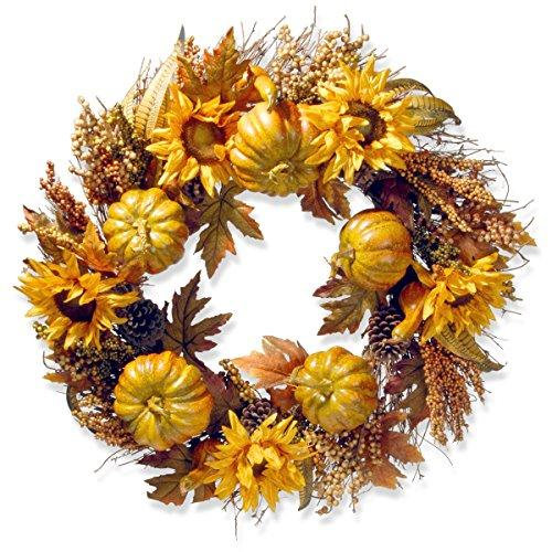 National Tree Pumpkins and Sunflowers Wreath