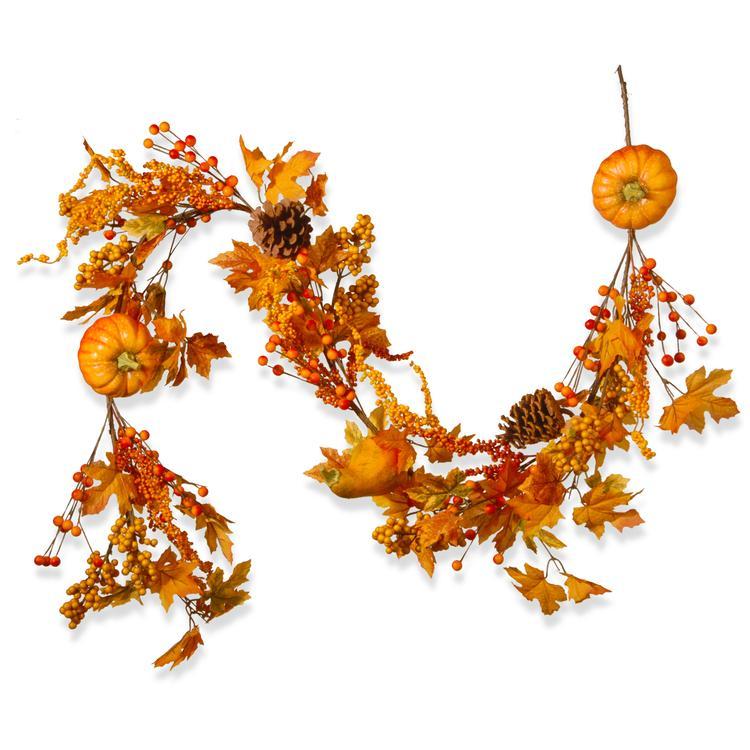 National Tree Maple Leaf and Pumpkins Garland