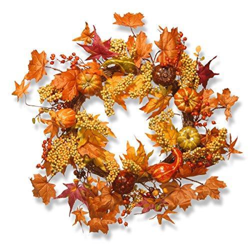 National Tree Maple Leaf and Pumpkins Wreath