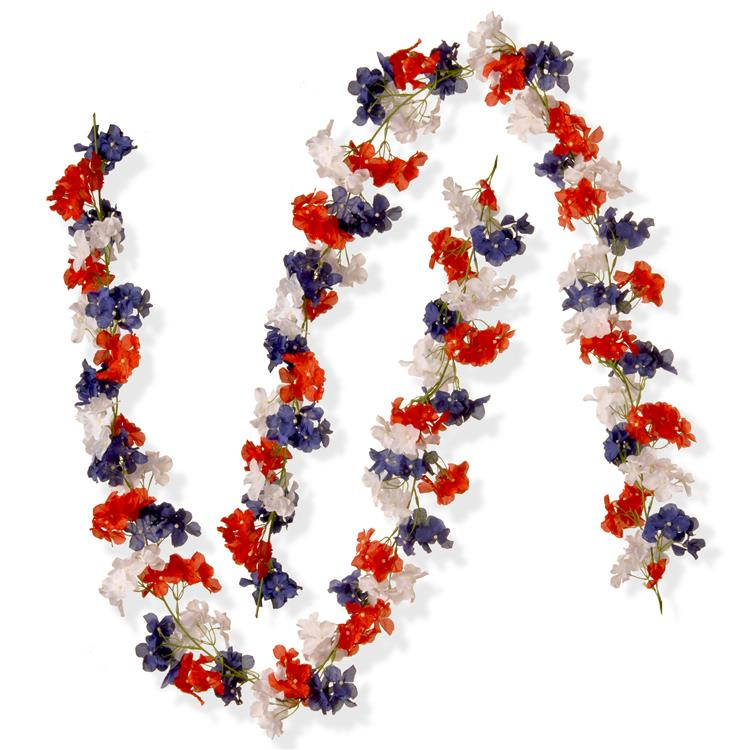 National Tree 6 ft Patriotic Hydrangea Garland Two Pack