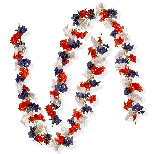 National Tree Patriotic Hydrangea Garland Two Pack