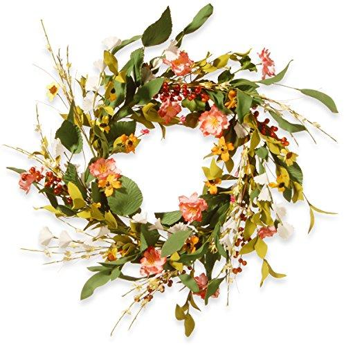 National Tree 22 Inch Spring Floral Wreath with Mixed Flowers and Red Berries