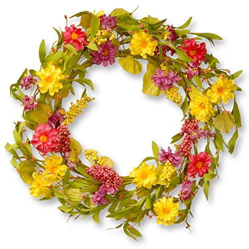 National Tree Multicolor Daisy Wreath