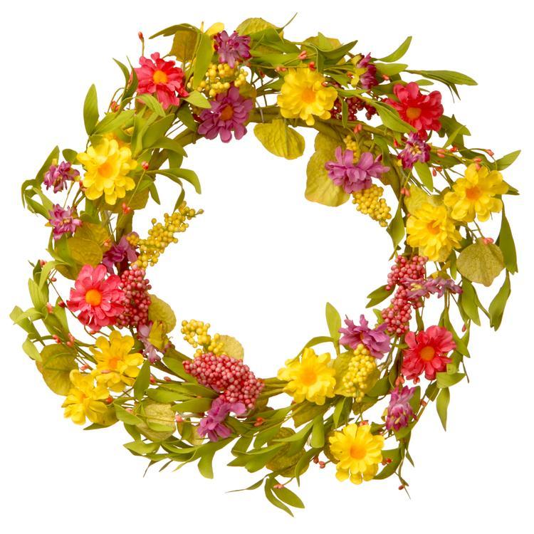 National Tree Multicolor Daisy Wreath